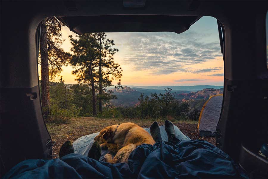 camping with sunrise