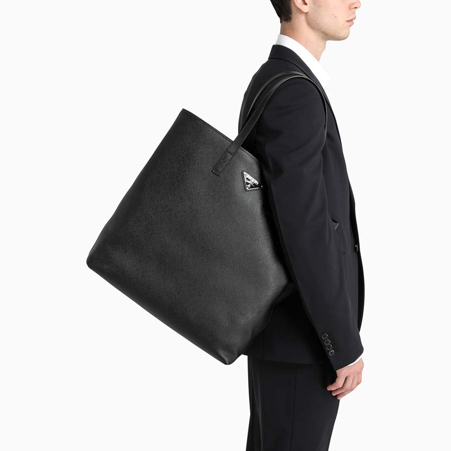 Prada black saffiano shopping bag