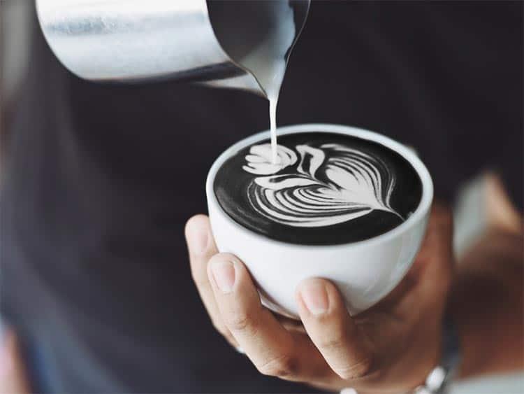 black latte coffee