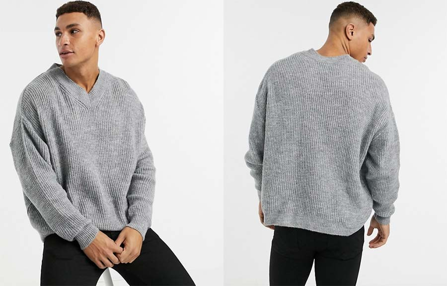 Asos Design knitted co-ord ribbed boxy v-neck jumper