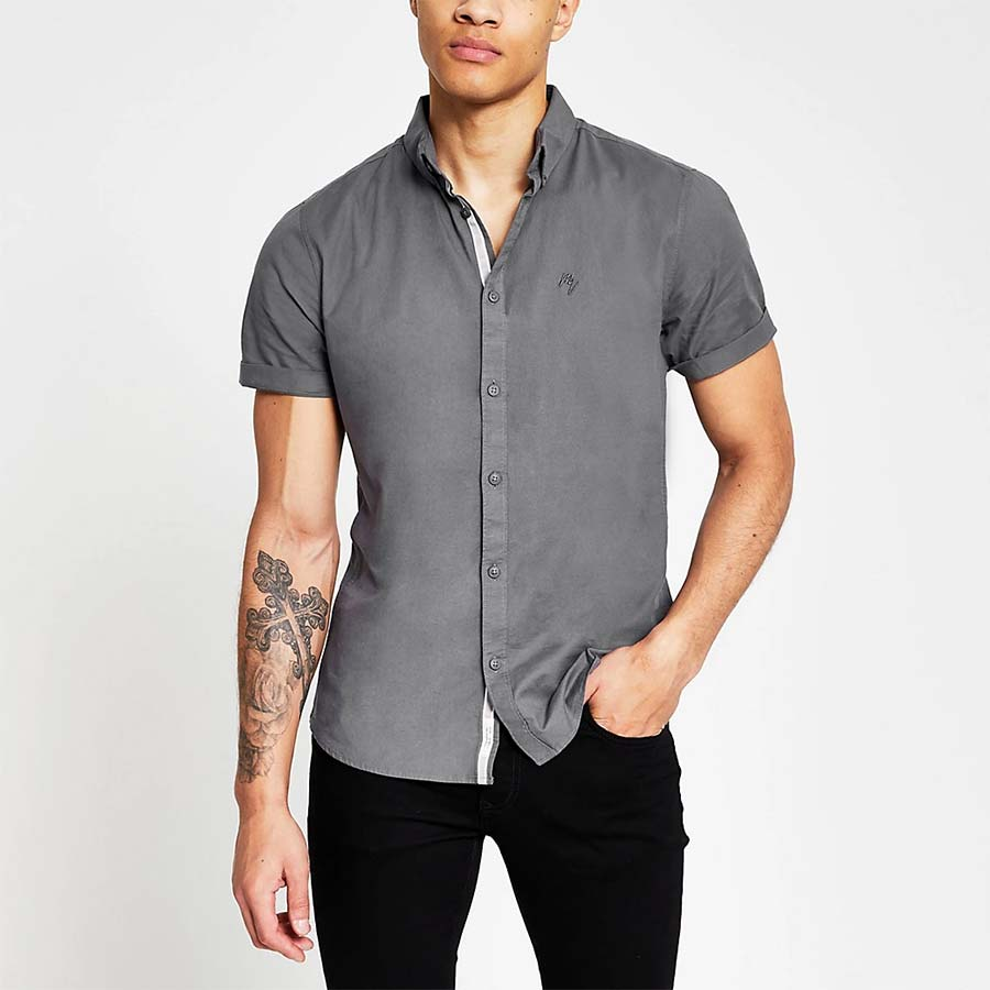 Grey short sleeve slim fit oxford shirt - River Island