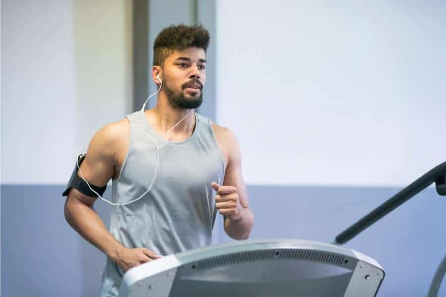 man running treadmill