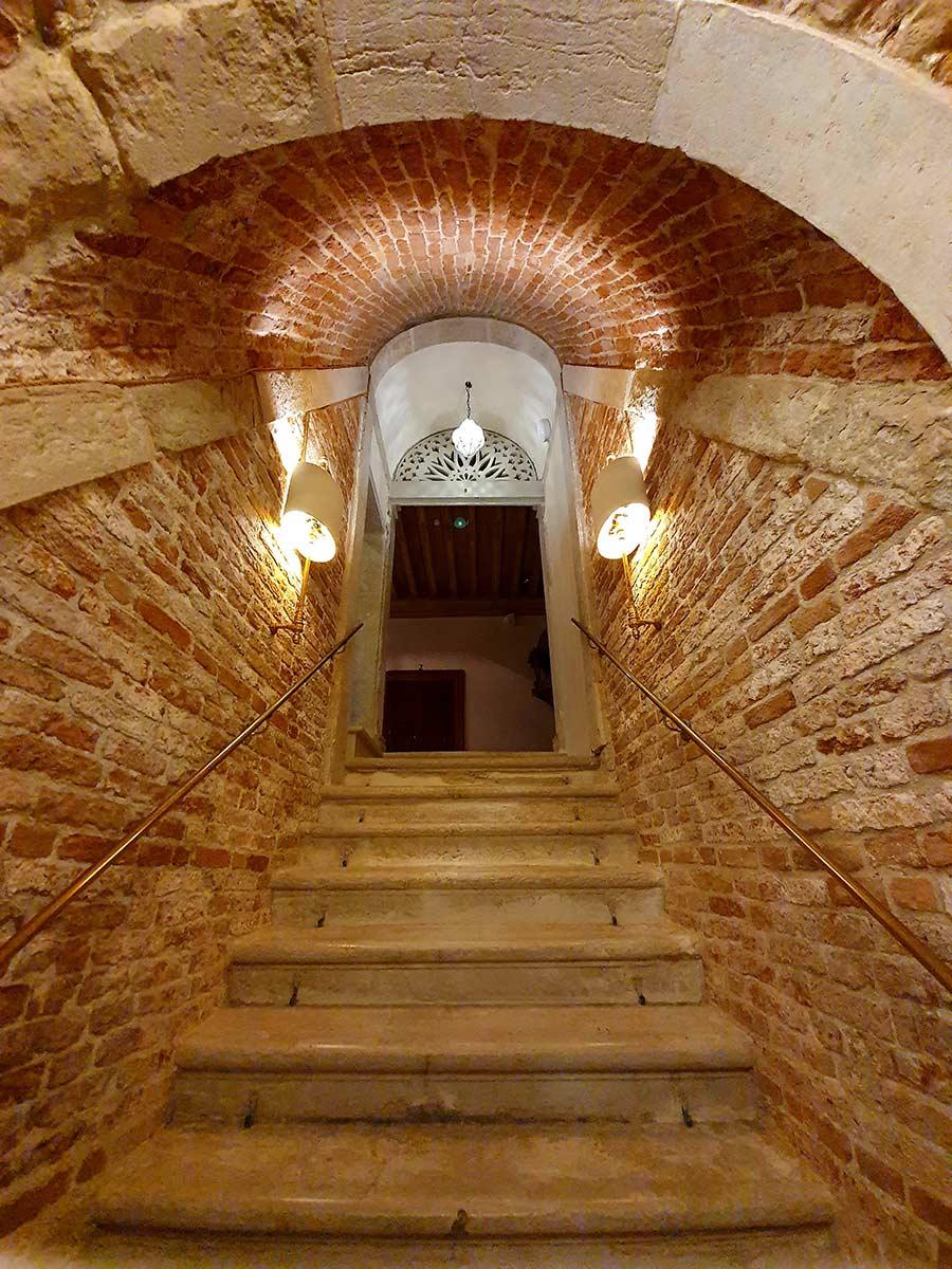 exposed brick palazzo