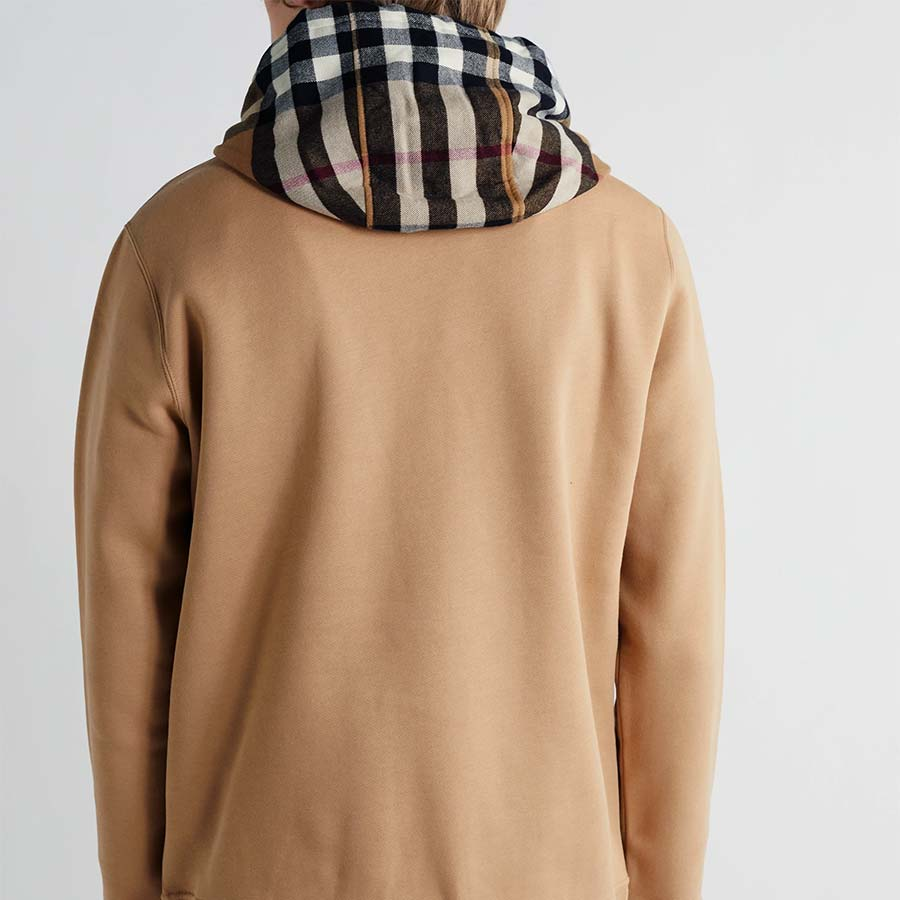 Check Hood Cotton Blend Hoodie Burberry
