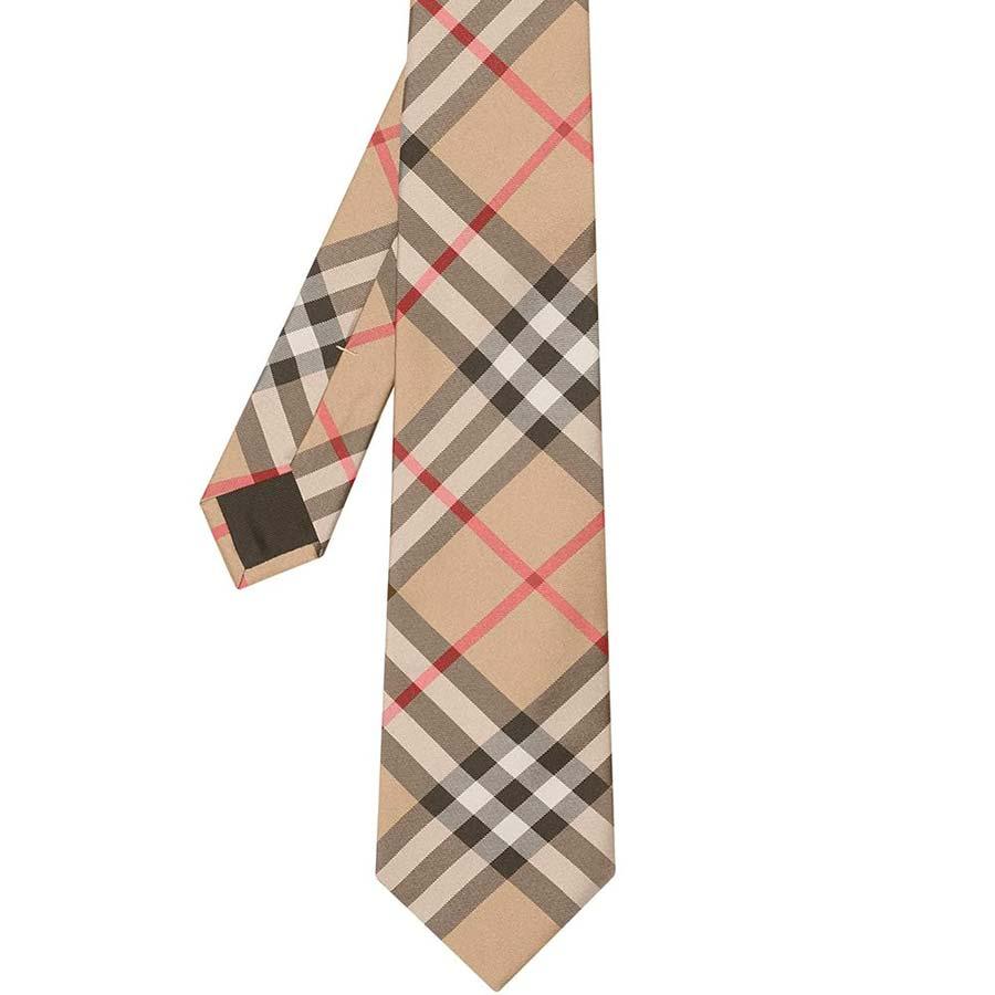 Corbata de seda con estampado de cuadros Burberry
