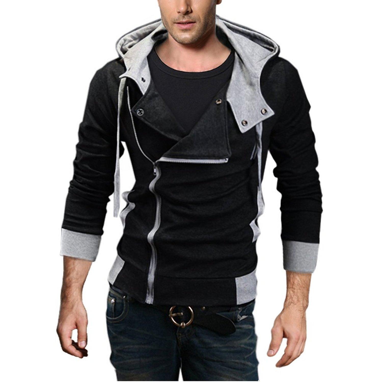 Sweatshirt Sleeve Hooded Denim Jacket Men