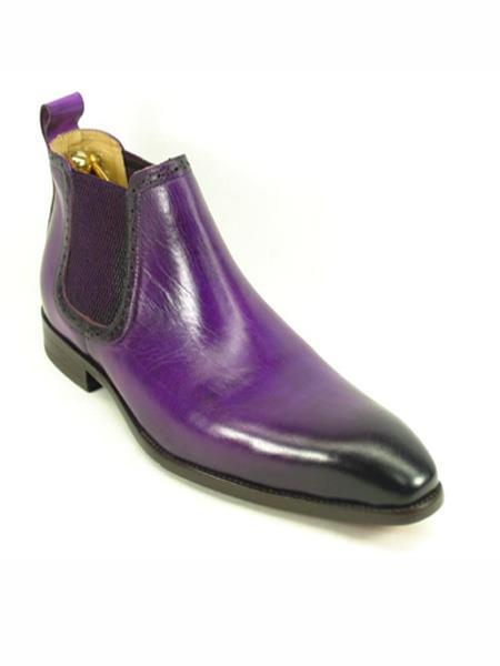 mens burnished leather purple