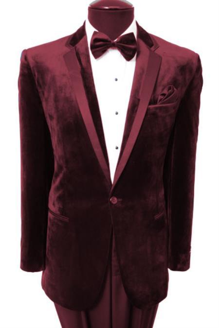 Velvet Velour Mens Blazer Sport Coat Two Button Tuxedo Ja