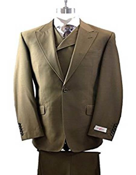 3c50f697f055 Men's Wide Leg Tobacco Vested Tiglio Rosso 1 Button Peak Lapel Italian Wool  Suit