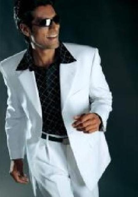 Mens Dress Casual White Suit High Twist All Year Around
