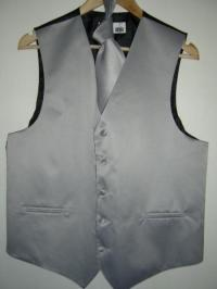 Silver Gray Vest & Tie Set - LavenderFashionZootSuit
