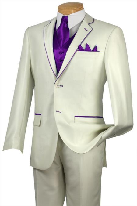 Tuxedo Purple Trim Microfiber Two Button Notch 5Piece Choice of Solid White or Ivory 585
