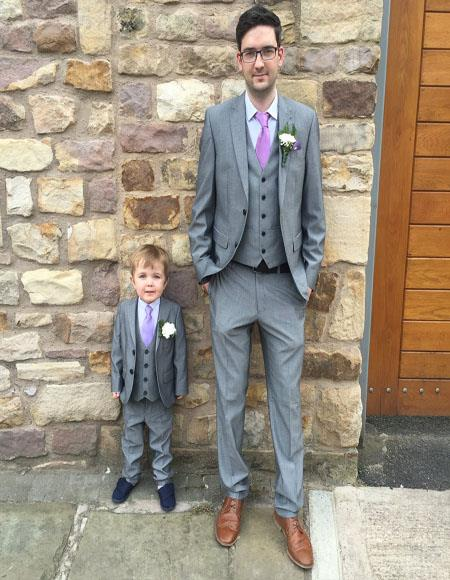 dad and son gray two button perfect for toddler suit wedding attire outfits suits