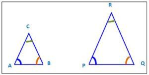 Similar shapes. Two triangles with similar shape but different sizes