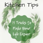 Herbs on white background with text overlay - Time-saving kitchen tips - 15 tricks to make your life easier