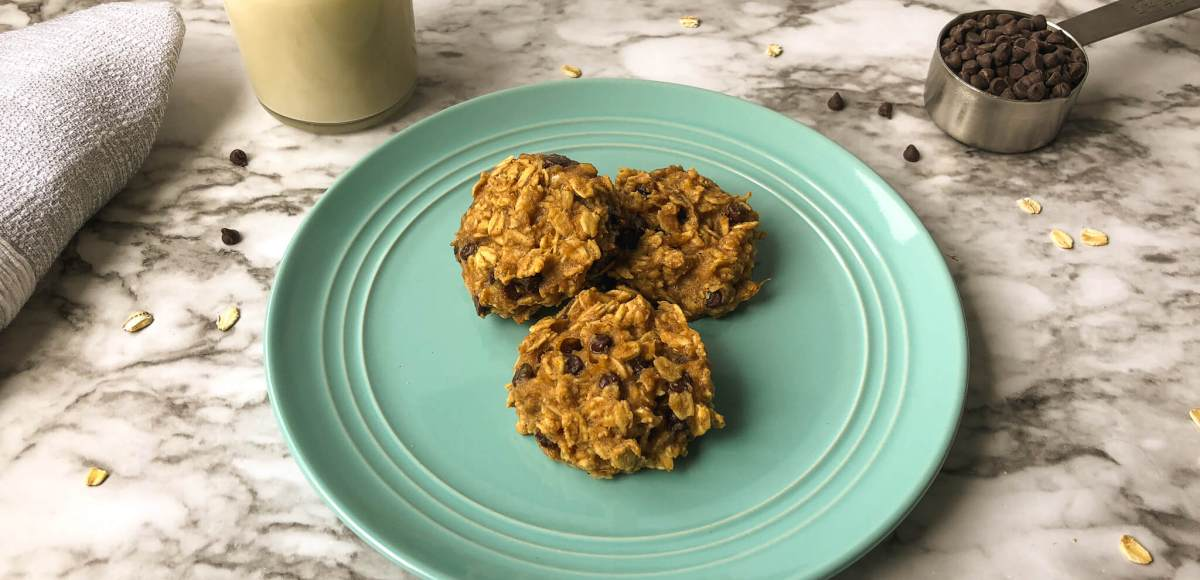 Oatmeal chocolate chip cookies on blue plate