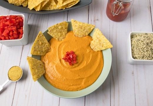 Flat lay of vegan queso dip