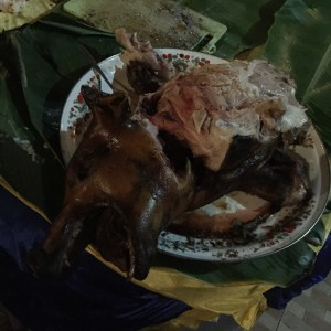 Zu besonderen Anlässen wird hier auf Bali ein ganzes Schwein gegrillt - und an Silvester haben unsere Gastgeber uns dazu eingeladen. Eine Erfahrung.