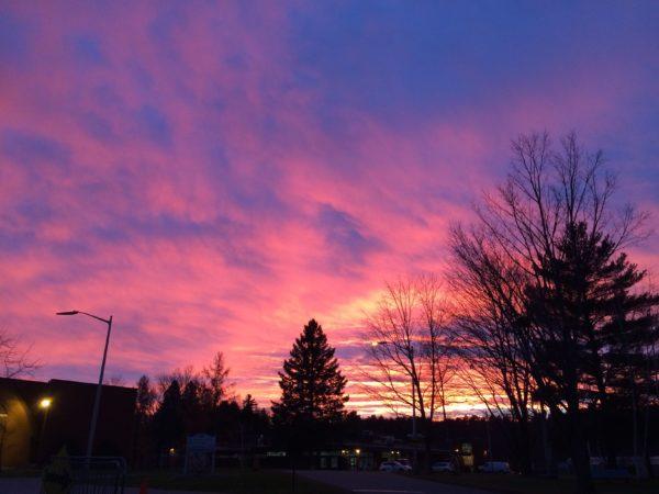 pink sunset quebec, canada Bishops
