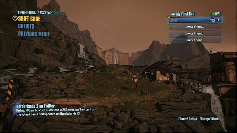 Borderlands 2 Extras menu.