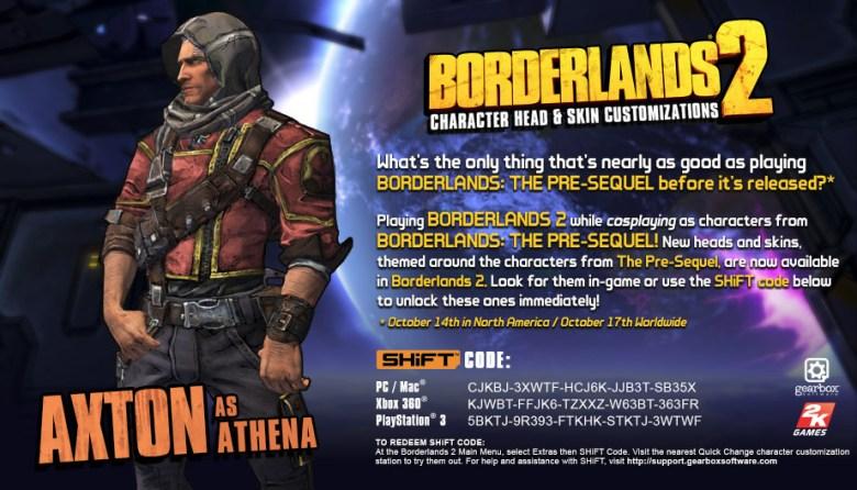 Borderlands 2 shift code axton as athena