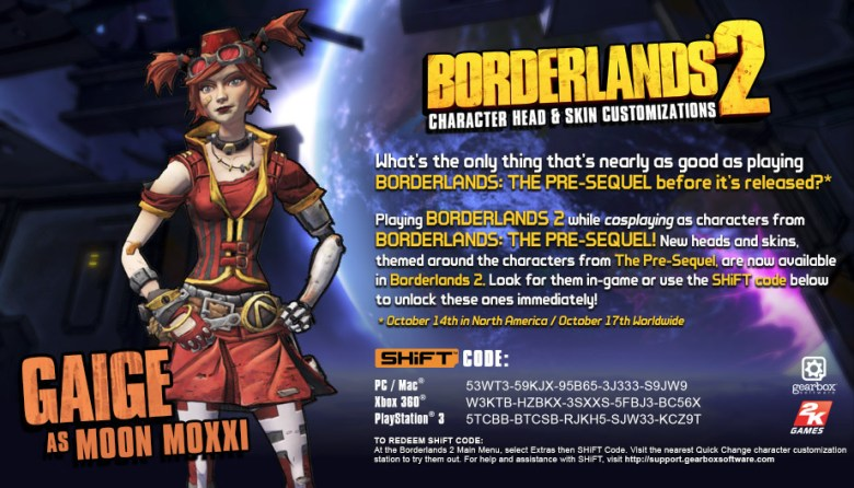 borderlands 2 shift codes Gaige as Moon Moxxi