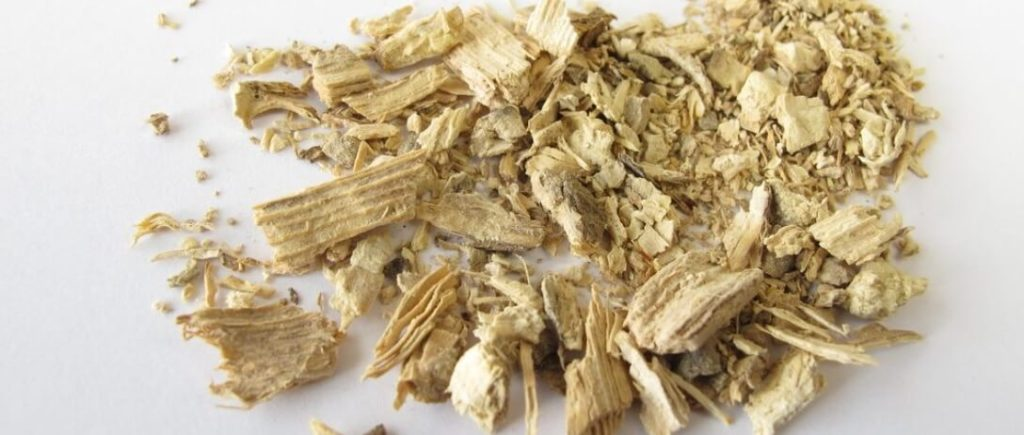 Dried and partially powdered kava root