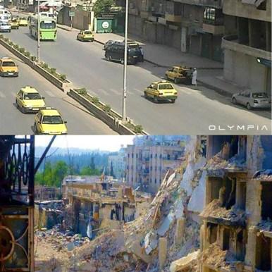 Aleppo prima e dopo i bombardamenti Siria