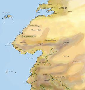 Mappa di Umbar e zone limitrofe