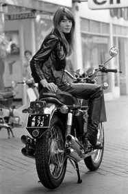 1969: French singer, Francoise Hardy sitting on a motorbike. Photo by Reg Lancaster