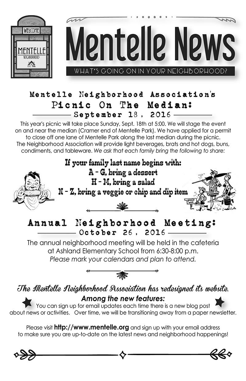Mentelle Park Assoc Newsletter - August 2016