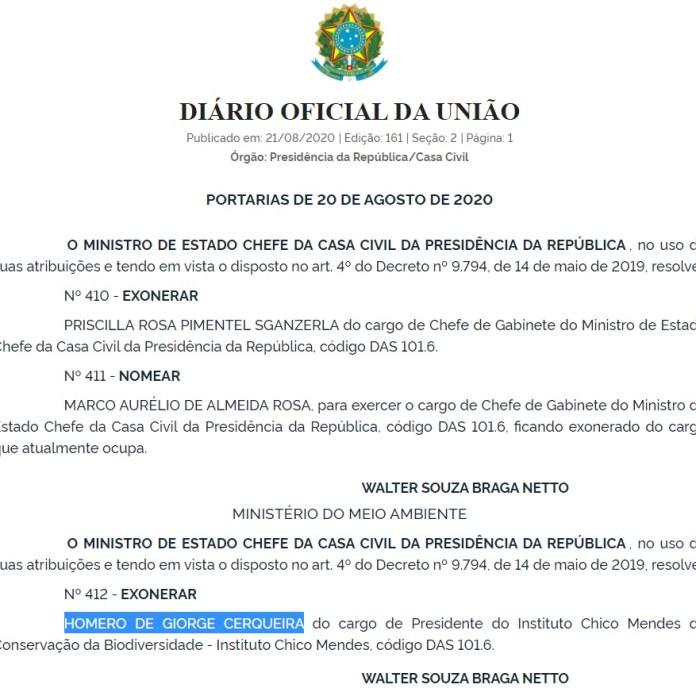 Coronel Homero Cerqueira é demitido ICMBio