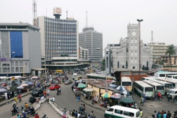 aerial picture of people walking across the street in lagos island