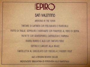 RIstorante Epiro menu san valentino