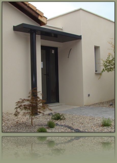 Porche entree maison contemporaine  Menuiserie