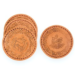 Rooster Kitchen Decor Items List Embossed Leather Coasters By Gorky