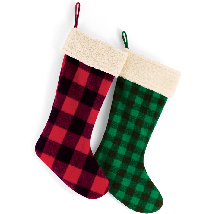 christmas kitchen towels blanco sink green/black plaid stocking