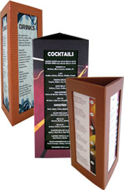 Restaurant table menu  Countertop displays  Table menus