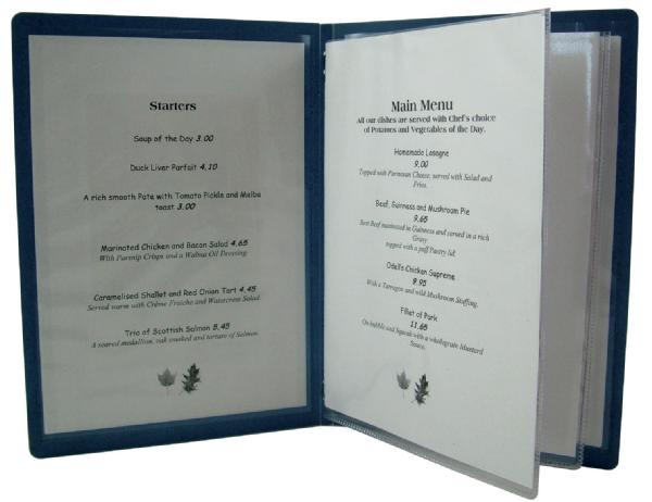Plastic menu folders  print restaurants display
