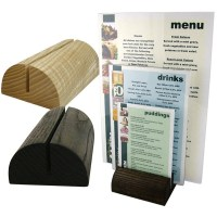 Table menu holder / wooden restaurant display