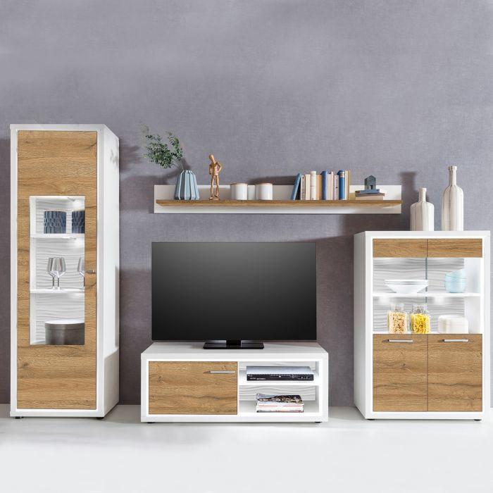 saragosse tv set mit fernsehschrank aus holz mit eingebauten leuchten helle eiche weiss