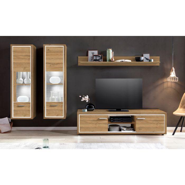 burgo tv set mit fernsehschrank aus holz helle eiche