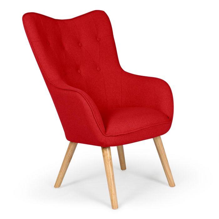 klarys skandinavischer sessel mit stoffbezug rot