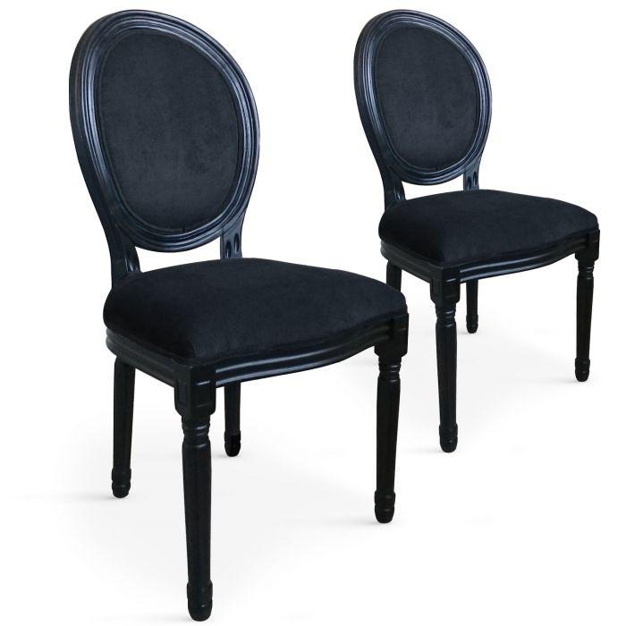 lot de 2 chaises medaillon louis xvi black velours noir