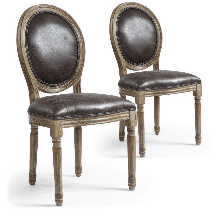 lot de 2 chaises de style medaillon louis xvi tissu marron effet vieilli