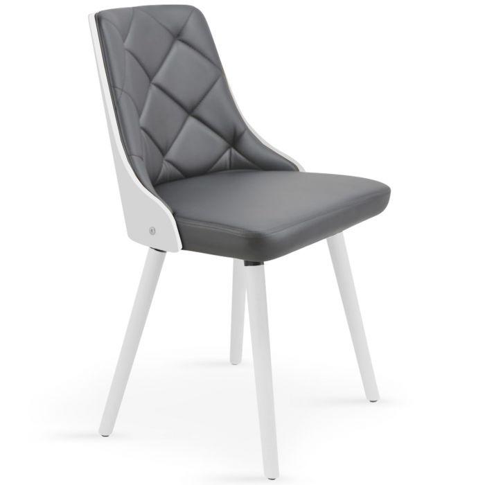 lot de 2 chaises scandinaves lalix blanc gris