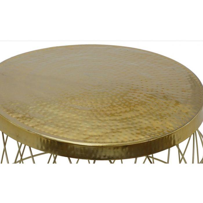 table basse ronde en metal martele artist or