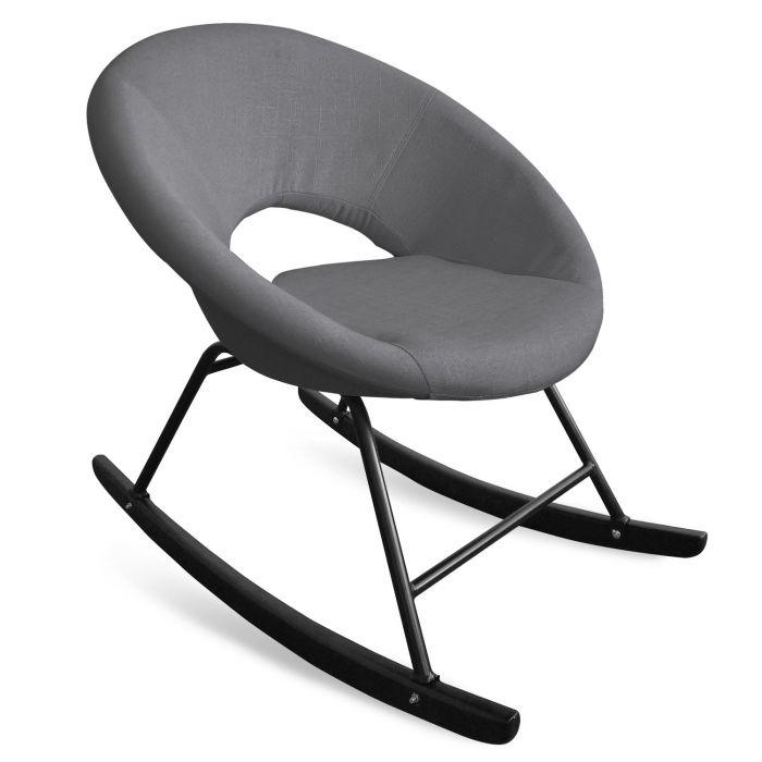 fauteuil a bascule type rocking chair berso tissu gris