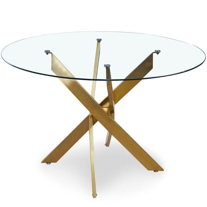 table ronde en verre corix pieds or