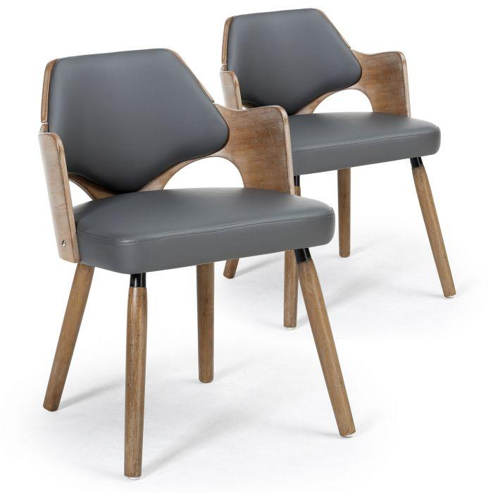 lot de 2 chaises scandinaves dima vintage gris